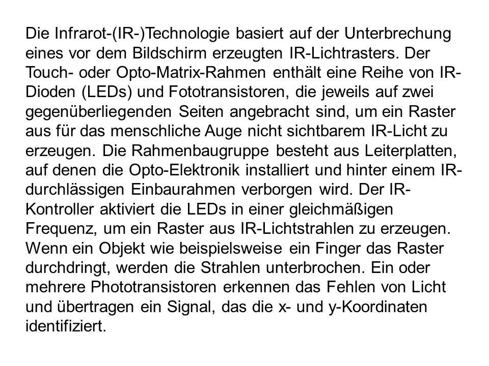 Die Infrarot-(IR-)Technologie basiert auf der Unterbrechung eines vor dem Bildschirm erzeugten IR-Lichtrasters. Der Touch- oder Opto-Matrix-Rahmen ent