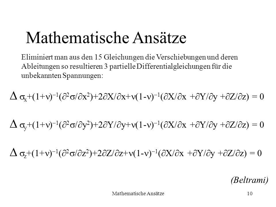 Mathematische Ansätze10 x +(1+ ) –1 ( 2 / x 2 )+2 X/ x+ (1- ) –1 ( X/ x + Y/ y + Z/ z) = 0 y +(1+ ) –1 ( 2 / y 2 )+2 Y/ y+ (1- ) –1 ( X/ x + Y/ y + Z/