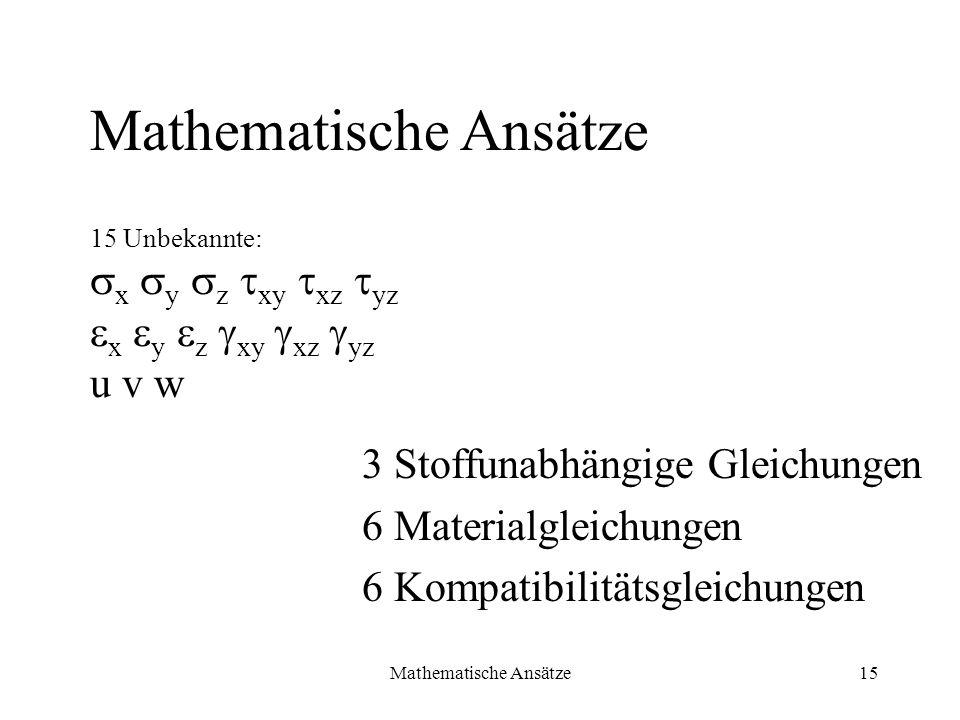 Mathematische Ansätze15 3 Stoffunabhängige Gleichungen 6 Materialgleichungen 6 Kompatibilitätsgleichungen Mathematische Ansätze 15 Unbekannte: x y z x