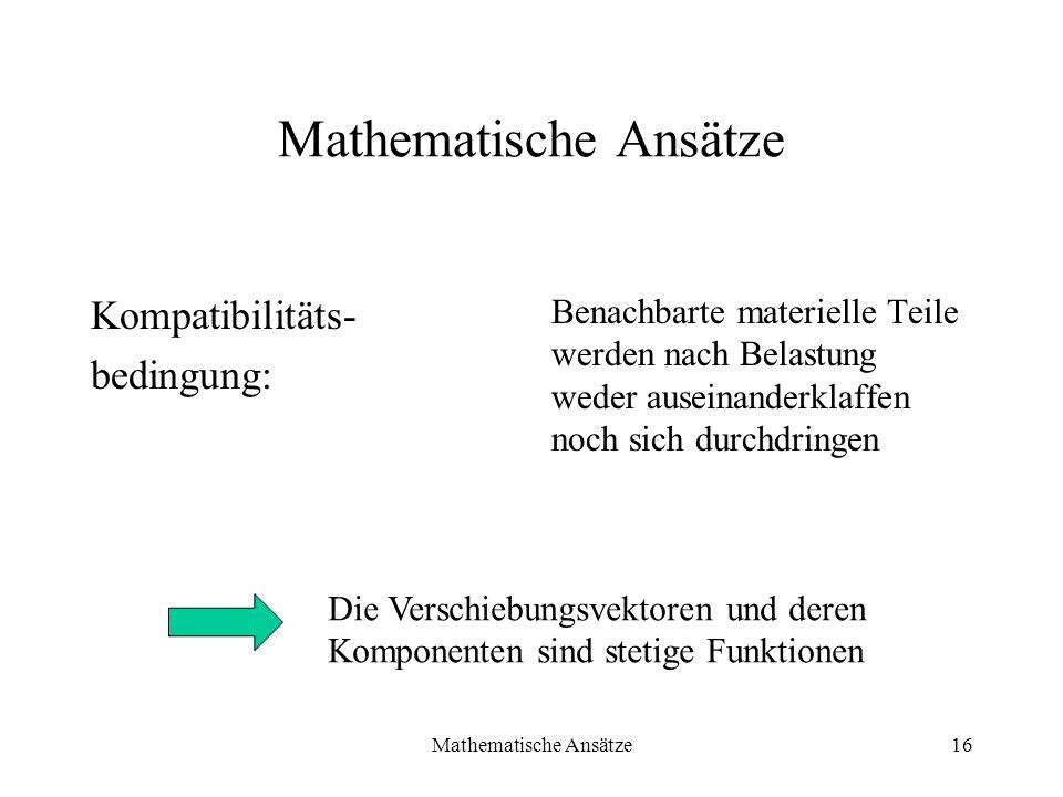 Mathematische Ansätze16 Mathematische Ansätze Kompatibilitäts- bedingung: Benachbarte materielle Teile werden nach Belastung weder auseinanderklaffen