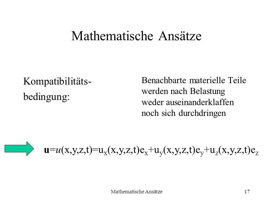 Mathematische Ansätze17 Mathematische Ansätze Kompatibilitäts- bedingung: Benachbarte materielle Teile werden nach Belastung weder auseinanderklaffen
