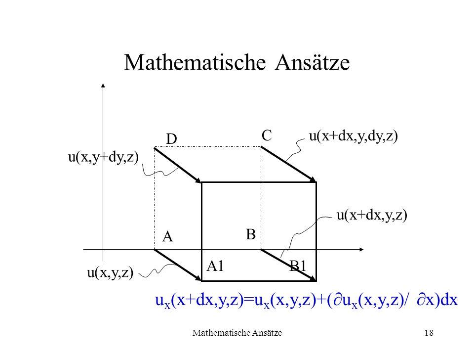 Mathematische Ansätze18 Mathematische Ansätze B C A A1B1 D u(x+dx,y,dy,z) u(x+dx,y,z) u(x,y+dy,z) u(x,y,z) u x (x+dx,y,z)=u x (x,y,z)+( u x (x,y,z)/ x