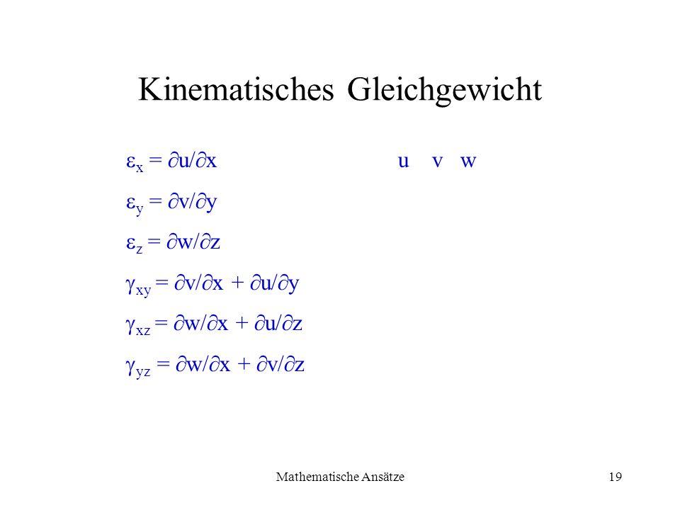 Mathematische Ansätze19 Kinematisches Gleichgewicht x = u/ x u v w y = v/ y z = w/ z xy = v/ x + u/ y xz = w/ x + u/ z yz = w/ x + v/ z