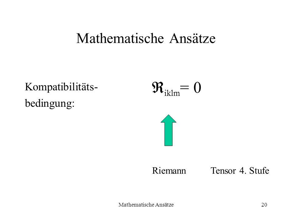 Mathematische Ansätze20 Mathematische Ansätze Kompatibilitäts- bedingung: iklm = 0 RiemannTensor 4. Stufe