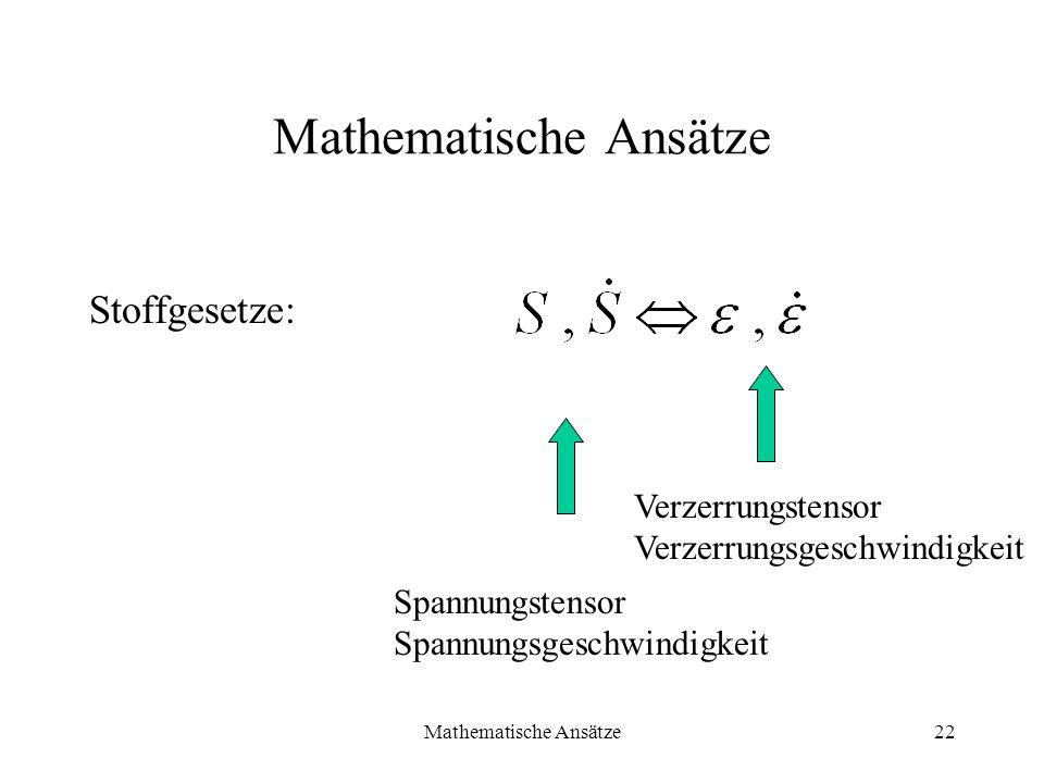 Mathematische Ansätze22 Mathematische Ansätze Stoffgesetze: Spannungstensor Spannungsgeschwindigkeit Verzerrungstensor Verzerrungsgeschwindigkeit