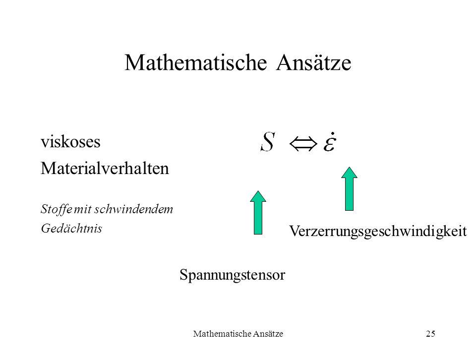 Mathematische Ansätze25 Mathematische Ansätze viskoses Materialverhalten Stoffe mit schwindendem Gedächtnis Spannungstensor Verzerrungsgeschwindigkeit