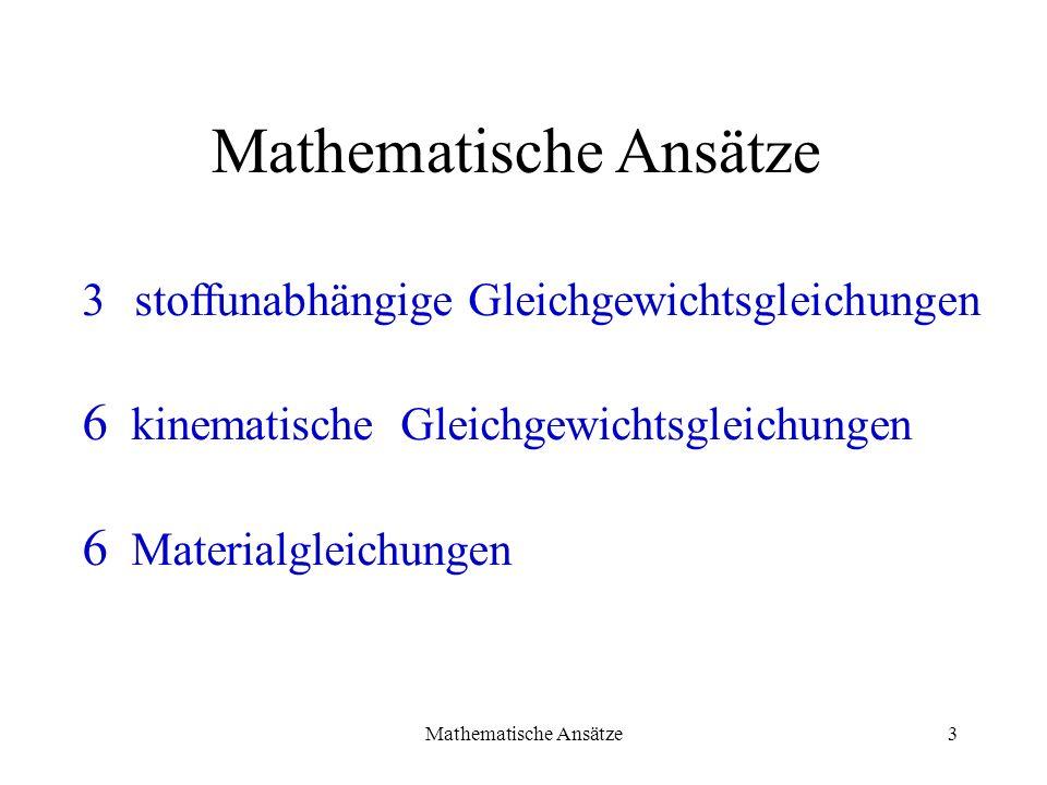 Mathematische Ansätze3 3stoffunabhängige Gleichgewichtsgleichungen 6 kinematische Gleichgewichtsgleichungen 6 Materialgleichungen