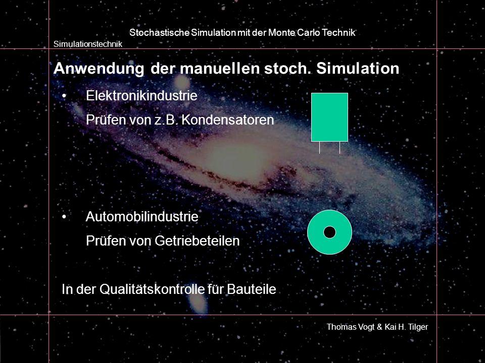 Anwendung der manuellen stoch. Simulation Simulationstechnik Thomas Vogt & Kai H. Tilger Stochastische Simulation mit der Monte Carlo Technik Elektron