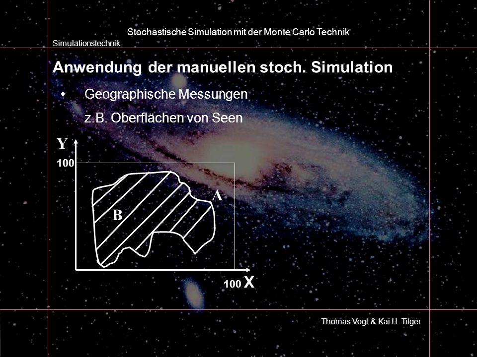 Anwendung der manuellen stoch. Simulation Simulationstechnik Thomas Vogt & Kai H. Tilger Stochastische Simulation mit der Monte Carlo Technik Geograph