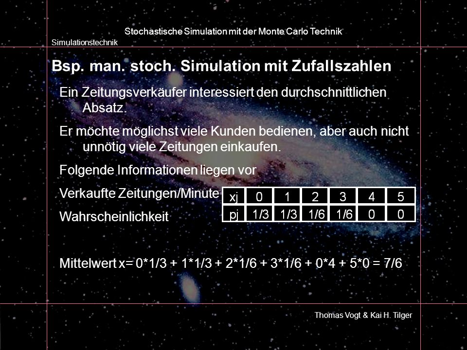 Bsp. man. stoch. Simulation mit Zufallszahlen Simulationstechnik Thomas Vogt & Kai H. Tilger Stochastische Simulation mit der Monte Carlo Technik Ein