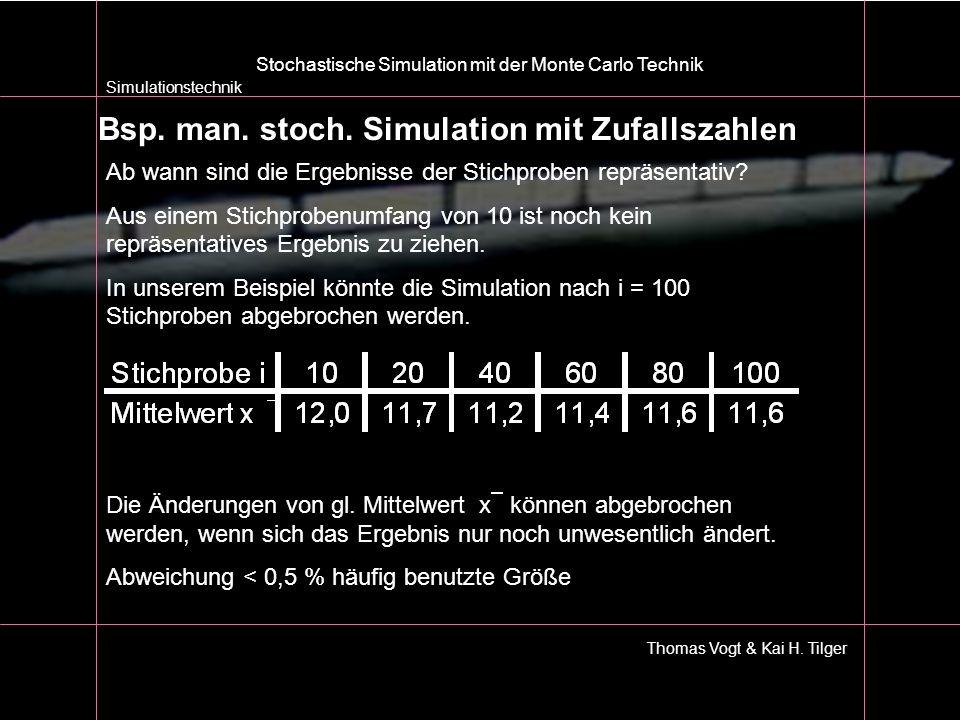 Simulationstechnik Thomas Vogt & Kai H. Tilger Stochastische Simulation mit der Monte Carlo Technik Bsp. man. stoch. Simulation mit Zufallszahlen Ab w