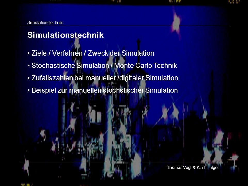 Simulationstechnik Thomas Vogt & Kai H. Tilger Ziele / Verfahren / Zweck der Simulation Stochastische Simulation / Monte Carlo Technik Zufallszahlen b