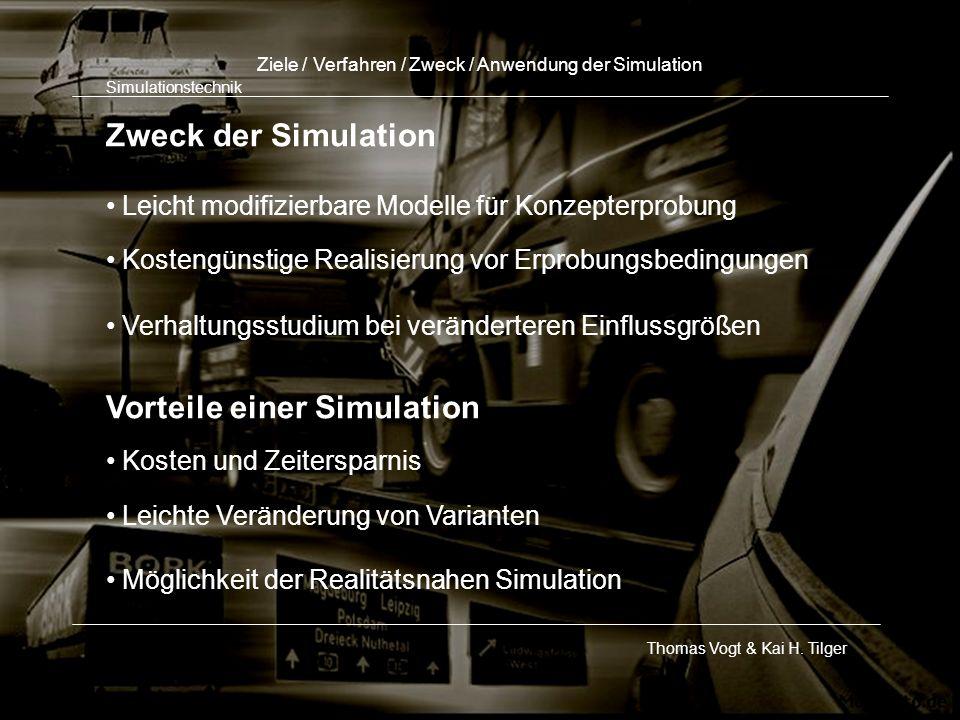 Zweck der Simulation Leicht modifizierbare Modelle für Konzepterprobung Kostengünstige Realisierung vor Erprobungsbedingungen Verhaltungsstudium bei v