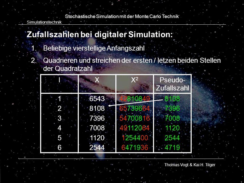Zufallszahlen bei digitaler Simulation: Simulationstechnik Thomas Vogt & Kai H. Tilger Stochastische Simulation mit der Monte Carlo Technik IXX2X2 Pse