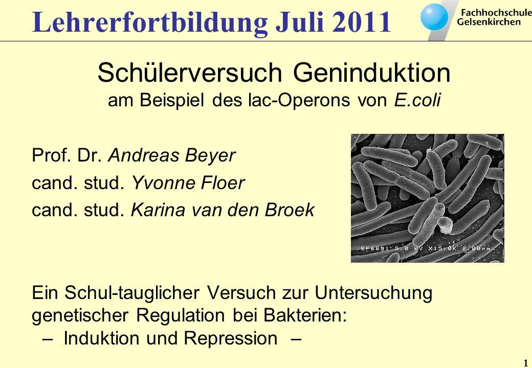 1 Lehrerfortbildung Juli 2011 Schülerversuch Geninduktion am Beispiel des lac-Operons von E.coli Prof. Dr. Andreas Beyer cand. stud. Yvonne Floer cand
