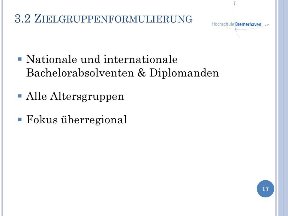 3.2 Z IELGRUPPENFORMULIERUNG 17 Nationale und internationale Bachelorabsolventen & Diplomanden Alle Altersgruppen Fokus überregional