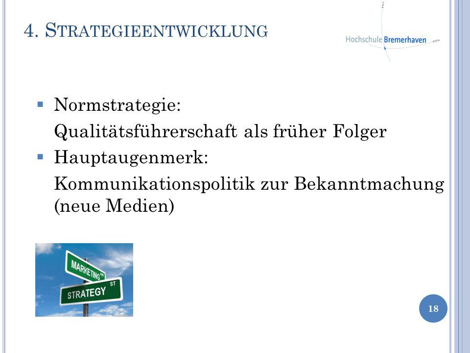 Normstrategie: Qualitätsführerschaft als früher Folger Hauptaugenmerk: Kommunikationspolitik zur Bekanntmachung (neue Medien) 4. S TRATEGIEENTWICKLUNG