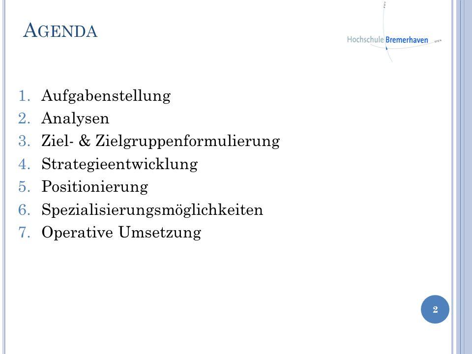 1.Aufgabenstellung 2.Analysen 3.Ziel- & Zielgruppenformulierung 4.Strategieentwicklung 5.Positionierung 6.Spezialisierungsmöglichkeiten 7.Operative Um