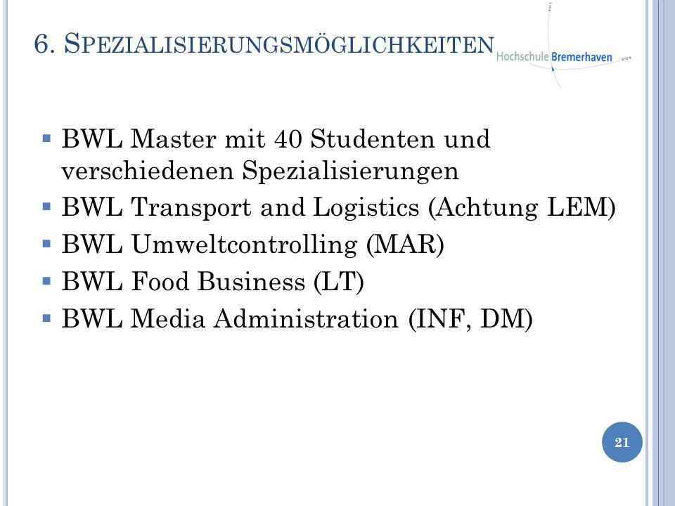 6. S PEZIALISIERUNGSMÖGLICHKEITEN 21 BWL Master mit 40 Studenten und verschiedenen Spezialisierungen BWL Transport and Logistics (Achtung LEM) BWL Umw
