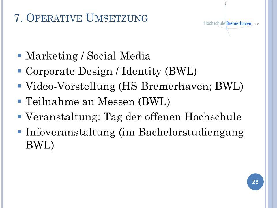 Marketing / Social Media Corporate Design / Identity (BWL) Video-Vorstellung (HS Bremerhaven; BWL) Teilnahme an Messen (BWL) Veranstaltung: Tag der of