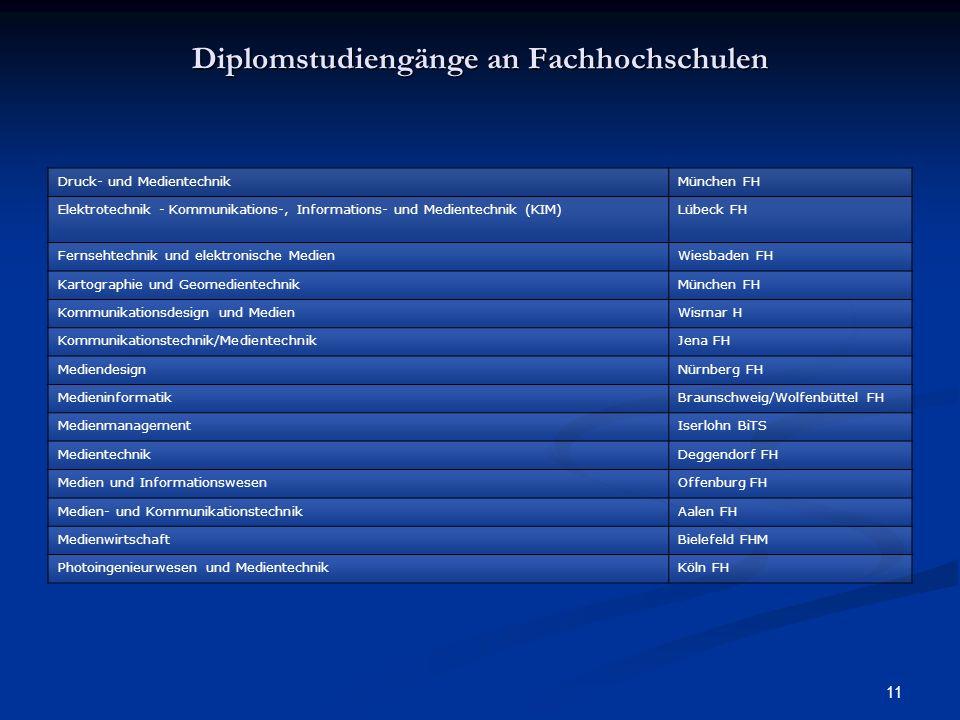 11 Diplomstudiengänge an Fachhochschulen Druck- und MedientechnikMünchen FH Elektrotechnik - Kommunikations-, Informations- und Medientechnik (KIM)Lüb