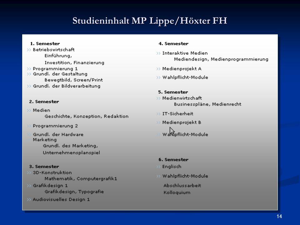 14 Studieninhalt MP Lippe/Höxter FH