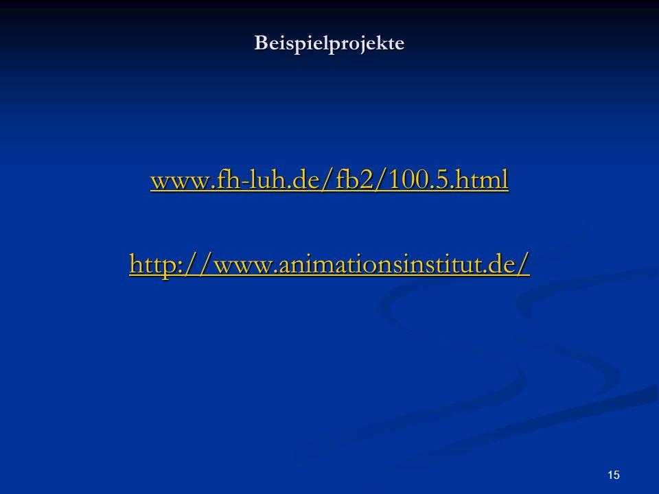 15 Beispielprojekte www.fh-luh.de/fb2/100.5.html http://www.animationsinstitut.de/