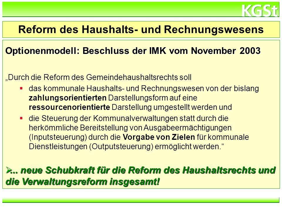 h:\verzeichnis\dateiname Optionenmodell: Beschluss der IMK vom November 2003 Durch die Reform des Gemeindehaushaltsrechts soll das kommunale Haushalts
