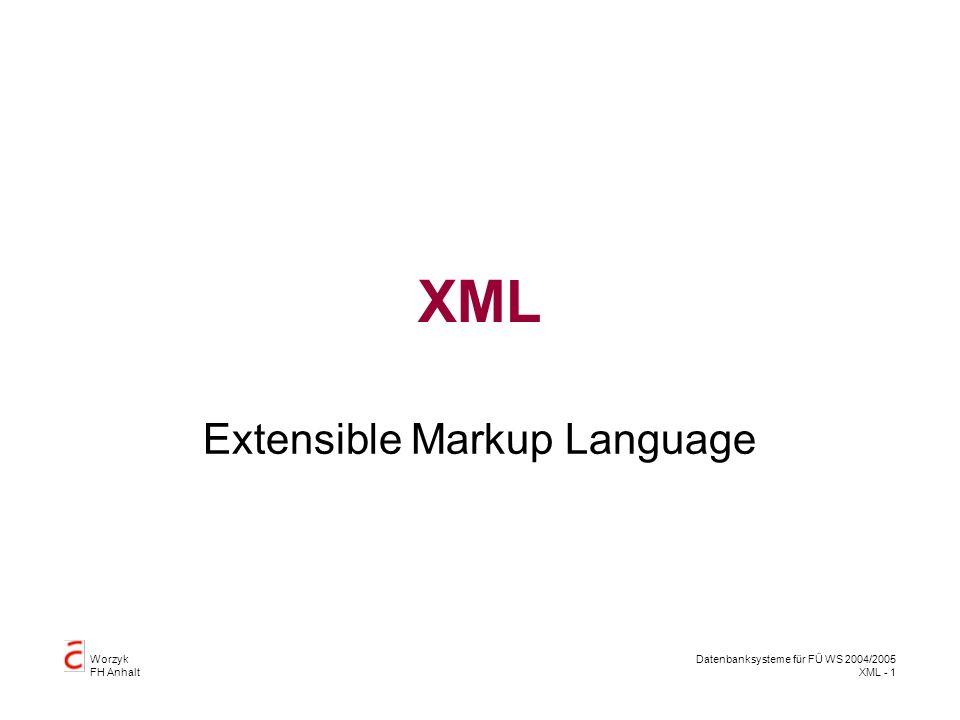 Worzyk FH Anhalt Datenbanksysteme für FÜ WS 2004/2005 XML - 2 XML Metasprache –Sprache, die Sprachen beschreibt –Sprachen beschreiben Formate zum Datenaustausch