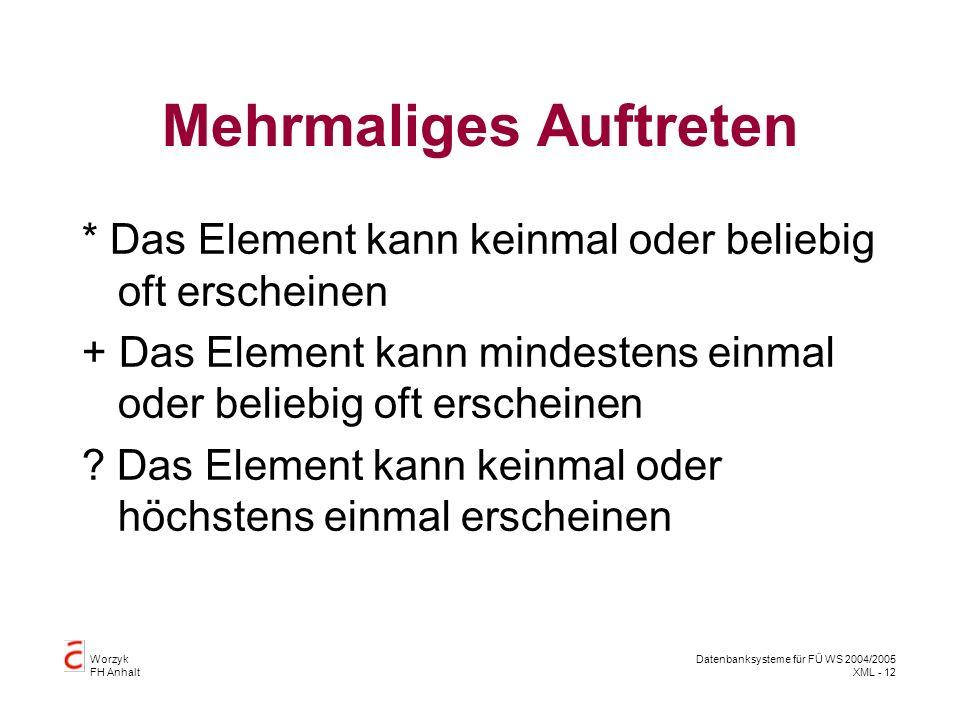 Worzyk FH Anhalt Datenbanksysteme für FÜ WS 2004/2005 XML - 12 Mehrmaliges Auftreten * Das Element kann keinmal oder beliebig oft erscheinen + Das Element kann mindestens einmal oder beliebig oft erscheinen .