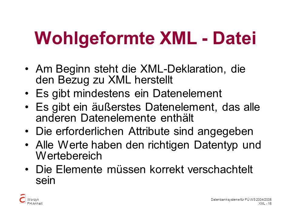 Worzyk FH Anhalt Datenbanksysteme für FÜ WS 2004/2005 XML - 15 Wohlgeformte XML - Datei Am Beginn steht die XML-Deklaration, die den Bezug zu XML herstellt Es gibt mindestens ein Datenelement Es gibt ein äußerstes Datenelement, das alle anderen Datenelemente enthält Die erforderlichen Attribute sind angegeben Alle Werte haben den richtigen Datentyp und Wertebereich Die Elemente müssen korrekt verschachtelt sein