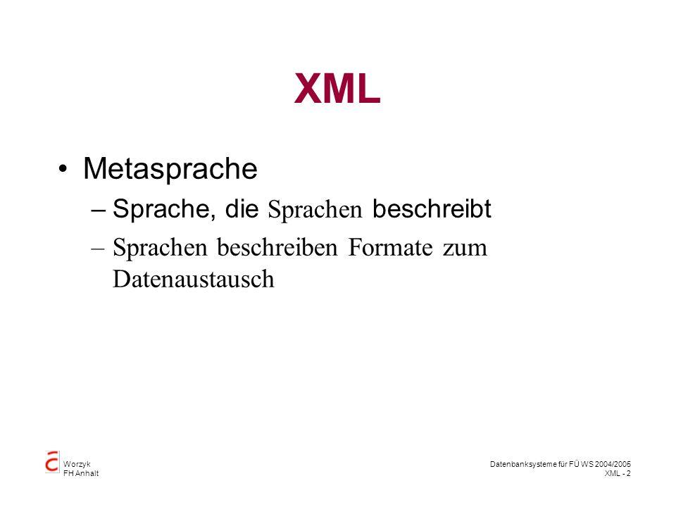 Datenbanksysteme 2 SS 2004 Seite 13 - 13 Worzyk FH Anhalt Attribute Attributtypen: CDATA, (en1 en2 ..), ID, IDREF, IDREFS, NMTOKEN, NMTOKENS, ENTITY, ENTITIES, NOTATION, xml: Defaultwerte: value #REQUIRED, #IMPLIED, #FIXED value http://www.inf.hs-anhalt.de/~Worzyk/Telemedizin/Beispiele/Patienten5.xml