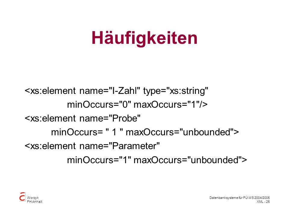 Worzyk FH Anhalt Datenbanksysteme für FÜ WS 2004/2005 XML - 25 Häufigkeiten <xs:element name= I-Zahl type= xs:string minOccurs= 0 maxOccurs= 1 /> <xs:element name= Probe minOccurs= 1 maxOccurs= unbounded > <xs:element name= Parameter minOccurs= 1 maxOccurs= unbounded >