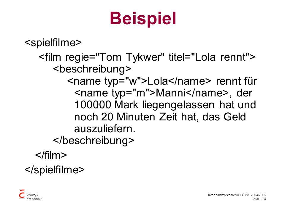 Worzyk FH Anhalt Datenbanksysteme für FÜ WS 2004/2005 XML - 28 Beispiel Lola rennt für Manni, der 100000 Mark liegengelassen hat und noch 20 Minuten Zeit hat, das Geld auszuliefern.