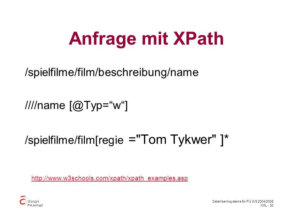 Worzyk FH Anhalt Datenbanksysteme für FÜ WS 2004/2005 XML - 30 Anfrage mit XPath /spielfilme/film/beschreibung/name ////name [@Typ=w] /spielfilme/film[regie = Tom Tykwer ]* http://www.w3schools.com/xpath/xpath_examples.asp