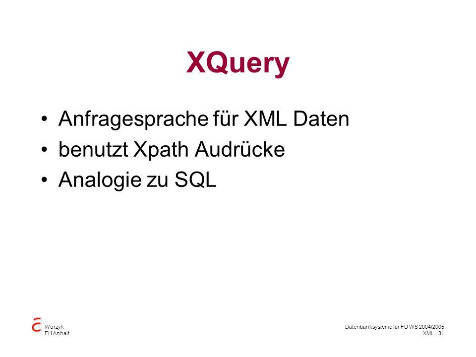Worzyk FH Anhalt Datenbanksysteme für FÜ WS 2004/2005 XML - 31 XQuery Anfragesprache für XML Daten benutzt Xpath Audrücke Analogie zu SQL