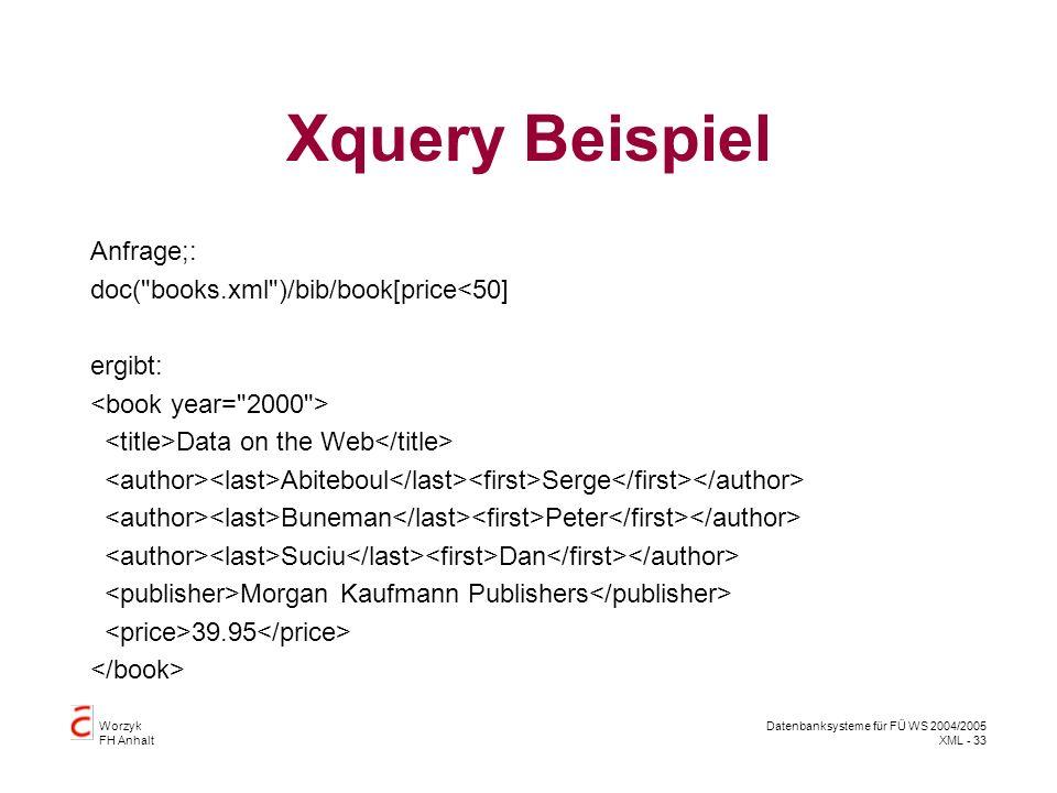 Worzyk FH Anhalt Datenbanksysteme für FÜ WS 2004/2005 XML - 33 Xquery Beispiel Anfrage;: doc( books.xml )/bib/book[price<50] ergibt: Data on the Web Abiteboul Serge Buneman Peter Suciu Dan Morgan Kaufmann Publishers 39.95