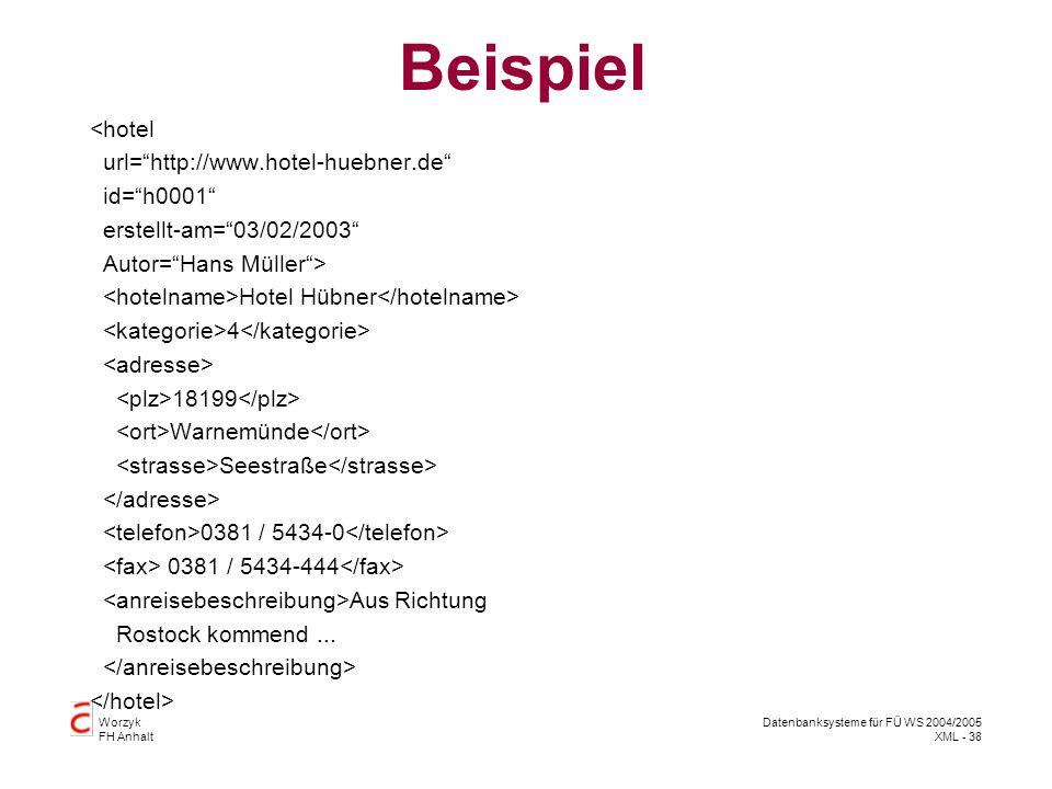Worzyk FH Anhalt Datenbanksysteme für FÜ WS 2004/2005 XML - 38 Beispiel <hotel url=http://www.hotel-huebner.de id=h0001 erstellt-am=03/02/2003 Autor=Hans Müller> Hotel Hübner 4 18199 Warnemünde Seestraße 0381 / 5434-0 0381 / 5434-444 Aus Richtung Rostock kommend...