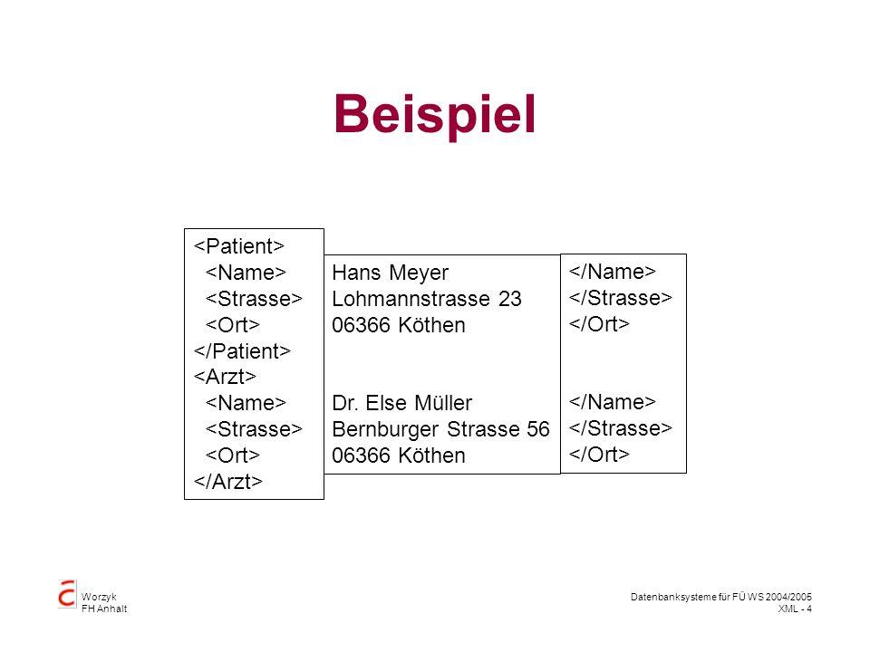Worzyk FH Anhalt Datenbanksysteme für FÜ WS 2004/2005 XML - 4 Beispiel Hans Meyer Lohmannstrasse 23 06366 Köthen Dr.