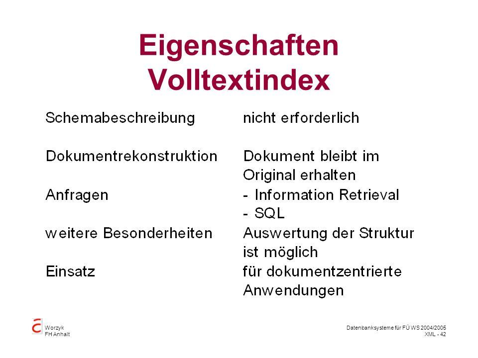 Worzyk FH Anhalt Datenbanksysteme für FÜ WS 2004/2005 XML - 42 Eigenschaften Volltextindex
