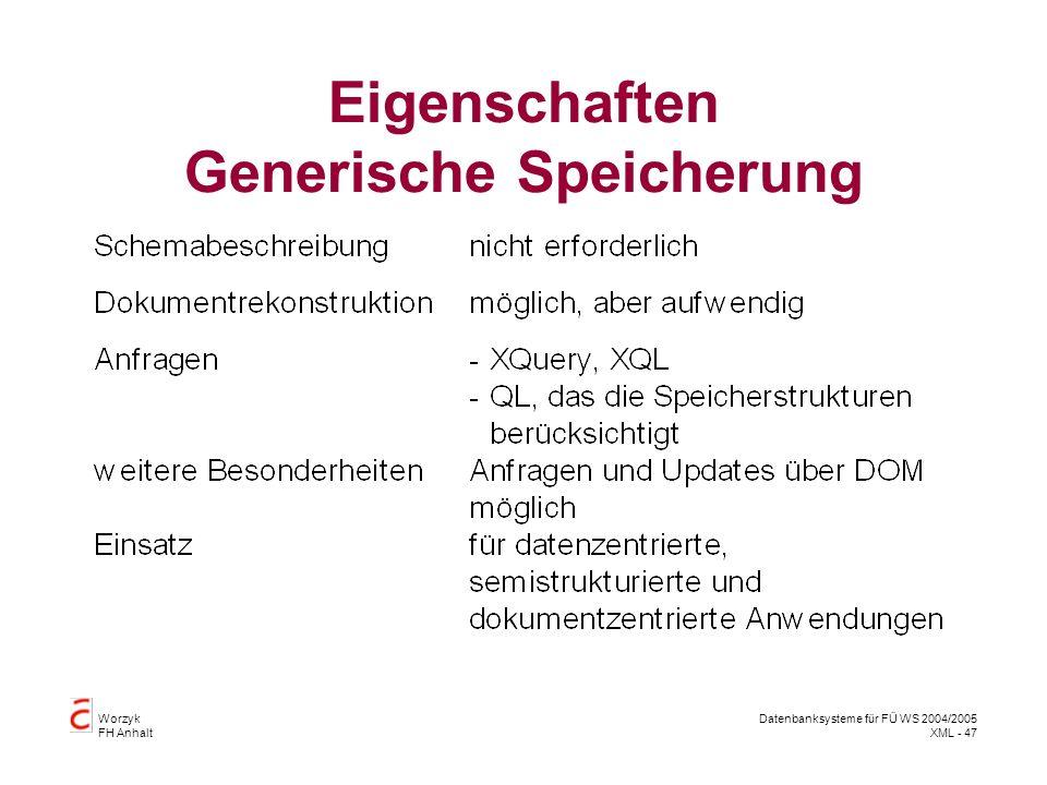 Worzyk FH Anhalt Datenbanksysteme für FÜ WS 2004/2005 XML - 47 Eigenschaften Generische Speicherung