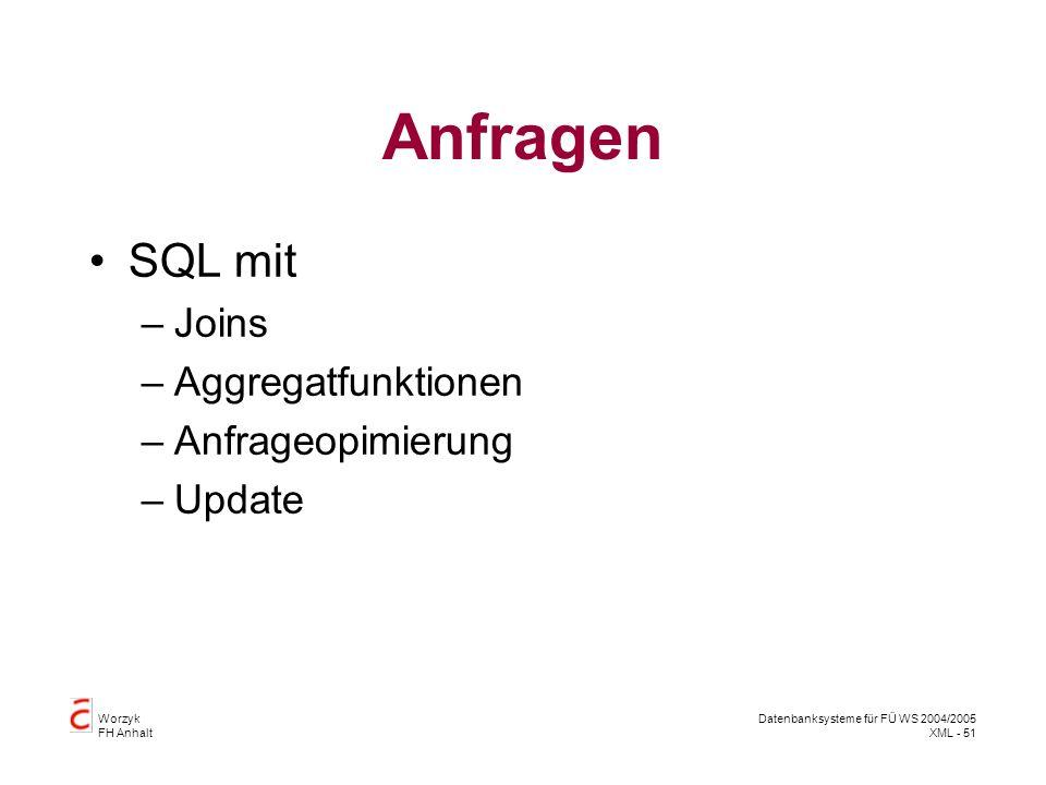 Worzyk FH Anhalt Datenbanksysteme für FÜ WS 2004/2005 XML - 51 Anfragen SQL mit –Joins –Aggregatfunktionen –Anfrageopimierung –Update