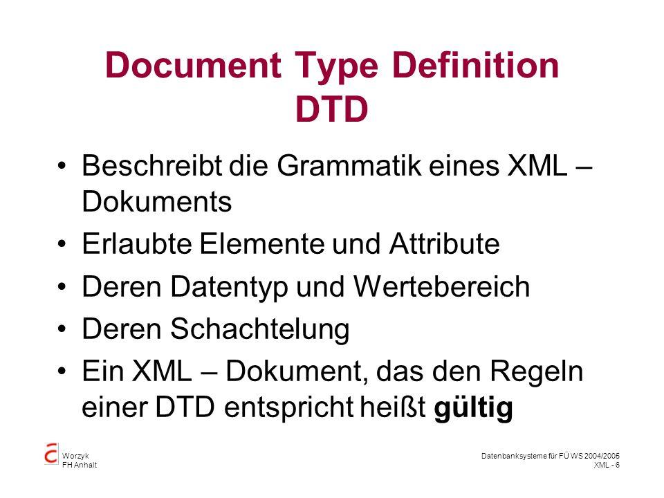 Worzyk FH Anhalt Datenbanksysteme für FÜ WS 2004/2005 XML - 6 Document Type Definition DTD Beschreibt die Grammatik eines XML – Dokuments Erlaubte Elemente und Attribute Deren Datentyp und Wertebereich Deren Schachtelung Ein XML – Dokument, das den Regeln einer DTD entspricht heißt gültig