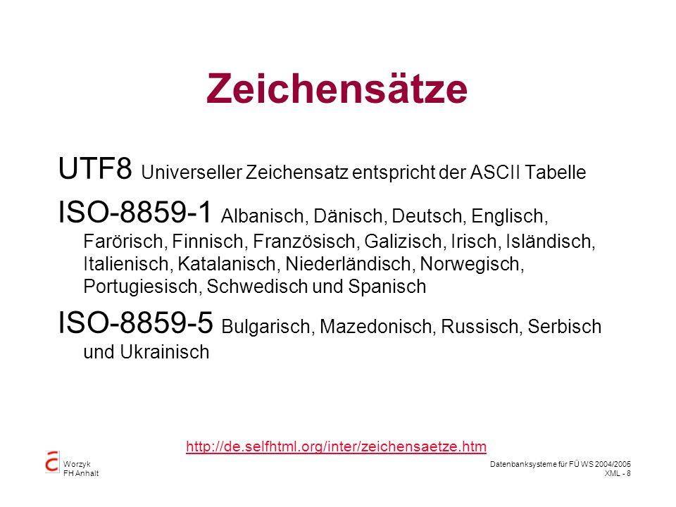 Worzyk FH Anhalt Datenbanksysteme für FÜ WS 2004/2005 XML - 8 Zeichensätze UTF8 Universeller Zeichensatz entspricht der ASCII Tabelle ISO-8859-1 Albanisch, Dänisch, Deutsch, Englisch, Farörisch, Finnisch, Französisch, Galizisch, Irisch, Isländisch, Italienisch, Katalanisch, Niederländisch, Norwegisch, Portugiesisch, Schwedisch und Spanisch ISO-8859-5 Bulgarisch, Mazedonisch, Russisch, Serbisch und Ukrainisch http://de.selfhtml.org/inter/zeichensaetze.htm