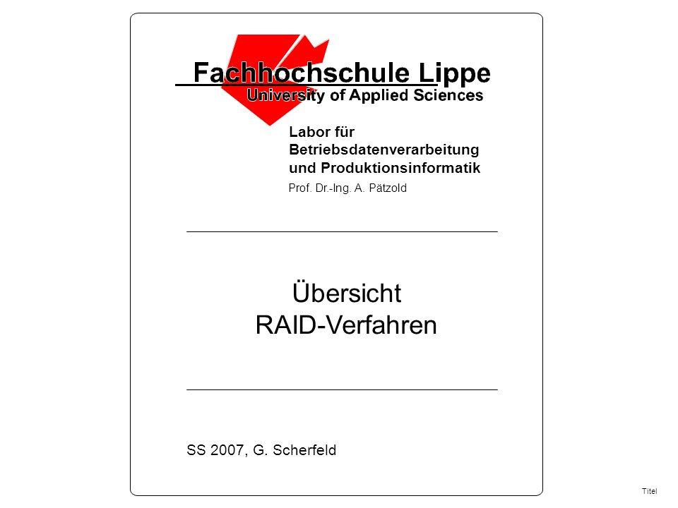 Labor für Betriebsdatenverarbeitung und Produktionsinformatik Prof.