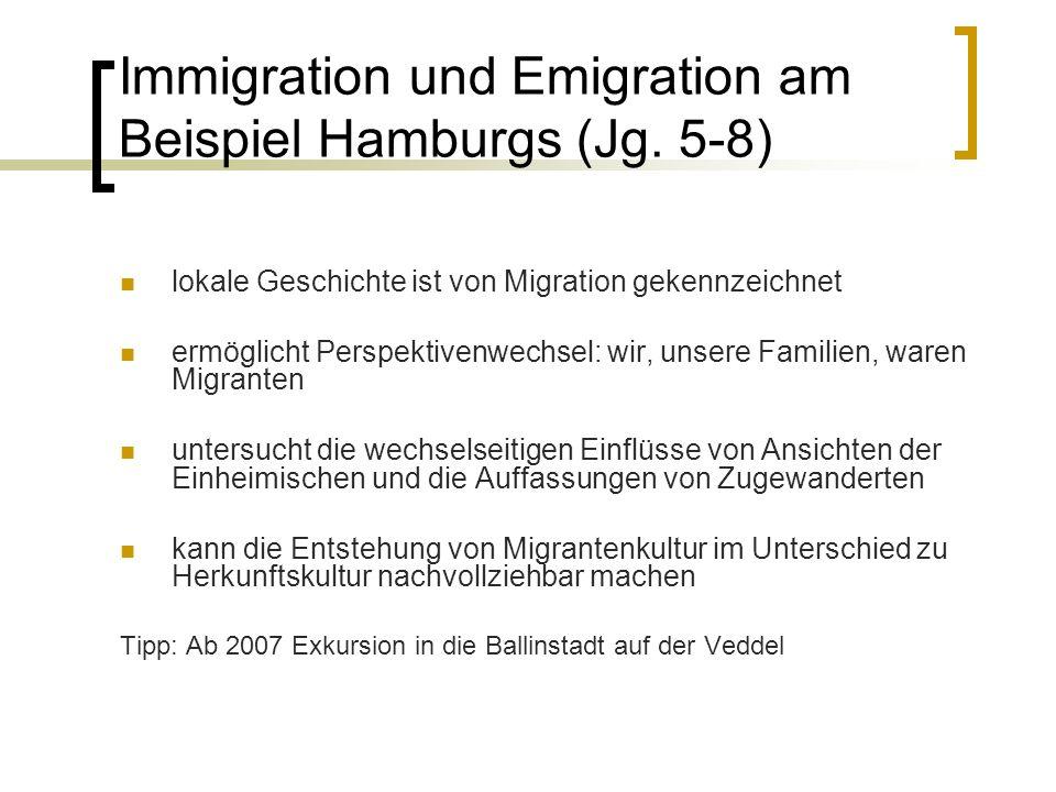 Immigration und Emigration am Beispiel Hamburgs (Jg.