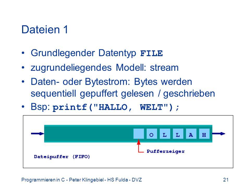 Programmieren in C - Peter Klingebiel - HS Fulda - DVZ21 Dateien 1 Grundlegender Datentyp FILE zugrundeliegendes Modell: stream Daten- oder Bytestrom: