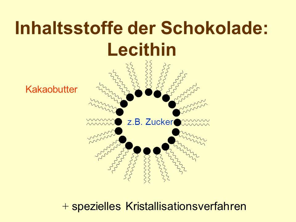 Inhaltsstoffe der Schokolade: Lecithin + spezielles Kristallisationsverfahren z.B. Zucker Kakaobutter