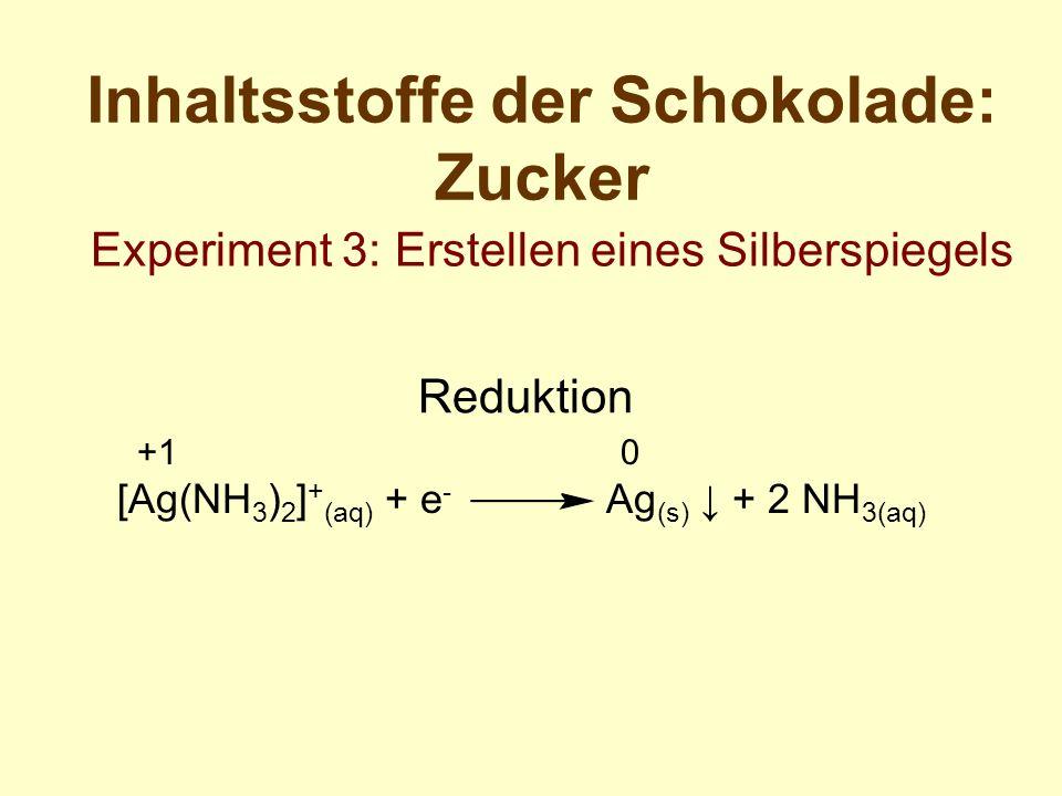 Inhaltsstoffe der Schokolade: Zucker Experiment 3: Erstellen eines Silberspiegels Reduktion +1 0 [Ag(NH 3 ) 2 ] + (aq) + e - Ag (s) + 2 NH 3(aq)