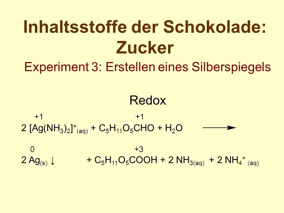+1 +1 2 [Ag(NH 3 ) 2 ] + (aq) + C 5 H 11 O 5 CHO + H 2 O 0 +3 2 Ag (s) + C 5 H 11 O 5 COOH + 2 NH 3(aq) + 2 NH 4 + (aq) Inhaltsstoffe der Schokolade: